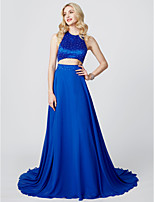 A-Line Princess Jewel Neck Court Train Chiffon Satin Formal Evening Dress with Beading Pleats by TS Couture®