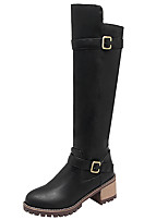 Women's Shoes PU Fall Winter Comfort Riding Boots Fashion Boots Boots Round Toe Knee High Boots Buckle For Casual Outdoor Brown Gray Black