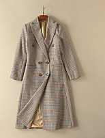Women's Daily Simple Casual Winter Fall Trench Coat,Plaid V Neck Long Sleeve Regular Polyester Oversized