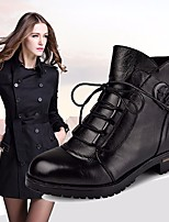 cheap -Women's Shoes Cowhide Winter Comfort Boots Round Toe Booties/Ankle Boots For Casual Black