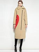 economico -Standard Piumino Da donna,Cappotto Romantico Moda città Per uscire Casual Tinta unita Con stampe Poliestere Manica lunga