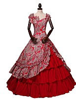 cheap -Vintage Victorian Costume Women's Adults' One Piece Dress Skirt Red Vintage Cosplay Cotton Fabric Short Sleeves Butterfly Ankle Length