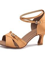 Women's Latin Satin Sandal Heel Indoor Cuban Heel Dark Brown 2