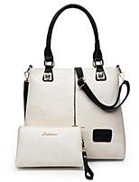 cheap -Women Bags PU Bag Set 2 Pieces Purse Set Zipper for Casual All Season White Black Red Dark Blue