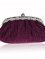 Women Bags Silk Evening Bag Buttons for Casual All Season Black Red Purple