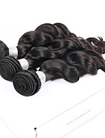 cheap -3 Pieces Natural Black Loose Wave Unprocessed Virgin Peruvian Human Hair Weaves Hair Extensions
