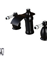 Antique Deck Mounted Waterfall Ceramic Valve Two Handles Three Holes Oil-rubbed Bronze , Bathroom Sink Faucet