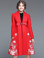 Недорогие -Для женщин На выход На каждый день Зима Осень Пальто Уличный стиль Цветочный принт Длинная Длинный рукав,Полиэстер 100% полиэстер Эластан,
