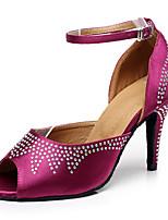 Women's Latin Leatherette Sneaker Professional Stiletto Heel Pink Fuchsia Black Customizable