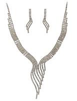 Femme Boucles d'oreille goutte Collier Strass Adorable Mariage Soirée Imitation Diamant Forme Géométrique 1 Collier Boucles d'oreille