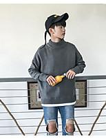 Для мужчин Прочее Простой Обычный Пуловер Однотонный,Круглый вырез Длинный рукав Полиэстер Осень Средняя Слабоэластичная