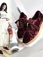 Women's Shoes Flocking All Season Comfort Sneakers Square Toe For Casual Blue Green Red Black