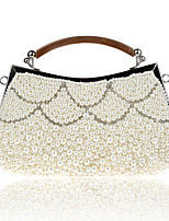 Women Bags Polyester Evening Bag Pearl Detailing for Wedding Event/Party All Season Champagne Black Beige