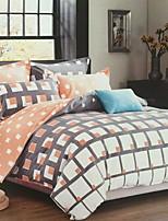 Contemporary 4 Piece Poly/Cotton Printed Poly/Cotton 1pc Duvet Cover 2pcs Shams 1pc Flat Sheet