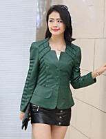 Women's Casual/Daily Simple Spring Fall Leather Jacket,Solid Round Neck Long Sleeves Short PU