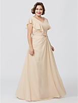 A-Line V-neck Floor Length Chiffon Mother of the Bride Dress with Appliques Pleats by LAN TING BRIDE®
