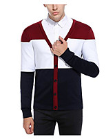 cheap -Men's Daily Regular Cardigan,Color Block V Neck Long Sleeves Cotton Medium Micro-elastic