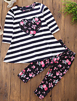 Girls' Floral Lines / Waves Embroidery Clothing Set,Cotton Polyester Fall Spring, Fall, Winter, Summer Long Pant Cute Active Blue