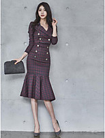 Women's Going out Casual Fall Shirt Skirt Suits,Plaid/Check Shirt Collar Long Sleeves Polyester