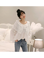 Women's Going out Cute Active Blouse,Solid Round Neck Long Sleeves Cotton Acrylic