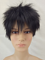 Men Synthetic Wig Capless Short Straight Black Layered Haircut Natural Wigs Costume Wig