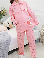 Costumes Pyjamas Femme,Animaux Coton Polyester Rose Claire Fuchsia