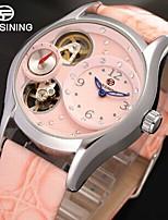 FORSINING Mujer Reloj de Vestir Reloj de Pulsera Reloj de Moda Cuerda Automática Huecograbado Compás Piel Banda Vintage Casual Rosa