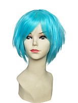 Women Synthetic Wig Capless Short Kinky Straight Blue Layered Haircut Party Wig Celebrity Wig Carnival Wig Cosplay Wig Natural Wigs