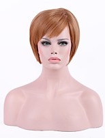 Women Synthetic Wig Capless Short Straight Ash Brown Natural Hairline Layered Haircut Party Wig Cosplay Wig Natural Wigs Costume Wig