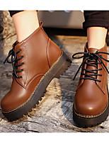 abordables -Mujer Zapatos PU Otoño Invierno Confort Botas de Combate Botas Para Casual Negro Marrón