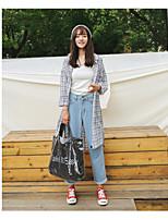 cheap -Women's Daily Street chic Shirt,Check Shirt Collar Long Sleeves Cotton