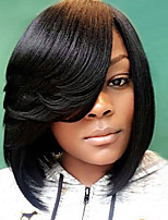 Women Synthetic Wig Capless Medium Length Straight Black Side Part With Bangs Natural Wigs Costume Wig