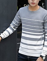Men's Daily Going out Short Pullover,Striped Color Block Round Neck Long Sleeves Cotton Acrylic Winter Fall Thick strenchy
