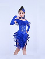 Latin Dance Outfits Children's Training Spandex Tassel(s) Short Sleeve Natural Dress Headpieces Shorts