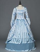 Victorien Rococo Costume Féminin Adulte Costume de Soirée Bal Masqué Bleu Vintage Cosplay Satin Stretch Manches Longues Longueur Sol