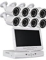 economico -Sistema di telecamere di sicurezza a 8 canali 10.1 pollici lcd 1080n ahd dvr 1.0mp telecamere resistenti agli agenti atmosferici con