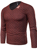 Men's Casual/Daily Simple Regular Pullover,Solid V Neck Long Sleeves Cotton Polyester Fall Winter Thick Stretchy