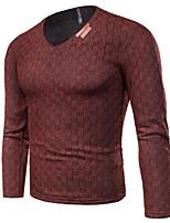 Для мужчин На каждый день Простой Обычный Пуловер Однотонный,V-образный вырез Длинный рукав Хлопок Полиэстер Осень Зима Толстая Эластичная