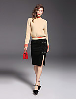 Women's Holiday Going out Sophisticated Sweater Skirt Suits,Solid Long Sleeves Cotton Polyester Nylon Spandex
