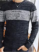 Standard Pullover Da uomo-Casual A strisce Rotonda Manica lunga Cotone Rayon Medio spessore Media elasticità