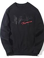 abordables -Sweatshirt Homme Décontracté / Quotidien Imprimé Coton