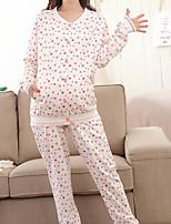 Costumes Pyjamas Femme,Cœur Coton Polyester Rose Claire