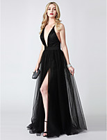 A-Line Princess Plunging Neckline Floor Length Tulle Formal Evening Dress with Split Front by TS Couture®
