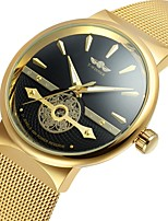 WINNER Men's Fashion Watch Dress Watch Wrist watch Automatic self-winding Hollow Engraving Stainless Steel Band Vintage Casual Cool Gold
