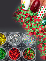 6Bottles/Set Colorful Christmas Glitter Round Sequins Nail Art 3D Paillette Xmas DIY Nail Art Cute Shining Decoration Manicure Beauty Accessory SD1-6