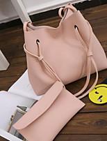 Women Bags All Season PU Bag Set 2 Pieces Purse Set Zipper for Casual Black Blushing Pink Gray Light Gray Brown