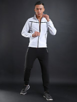 Men's Running T-Shirt Long Sleeves Fitness Stretchy Tracksuit for Running/Jogging Fitness Cotton Polyster Royal Blue Grey Black White XXL