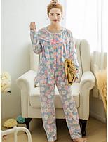 Nuisette & Culottes Pyjamas Femme,Imprimé Fleurs Polyester Violet