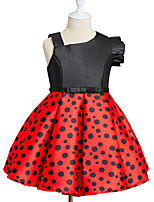 Girl's Birthday Going out Solid Print Round Dots Dress,Cotton Polyester Spring, Fall, Winter, Summer All Seasons Sleeveless Cute Active