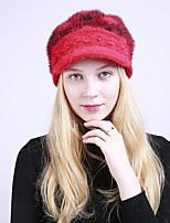 Для женщин Винтаж Очаровательный На каждый день Широкополая шляпа,Зима Акрил Романский трикотаж В полоску Плетение Красный Розовый
